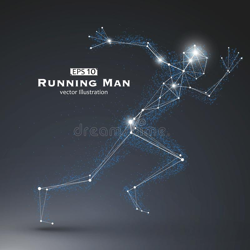 Running Man, dots and lines connected together. Running Man, dots and lines connected together, a sense of science and technology vector illustration stock illustration