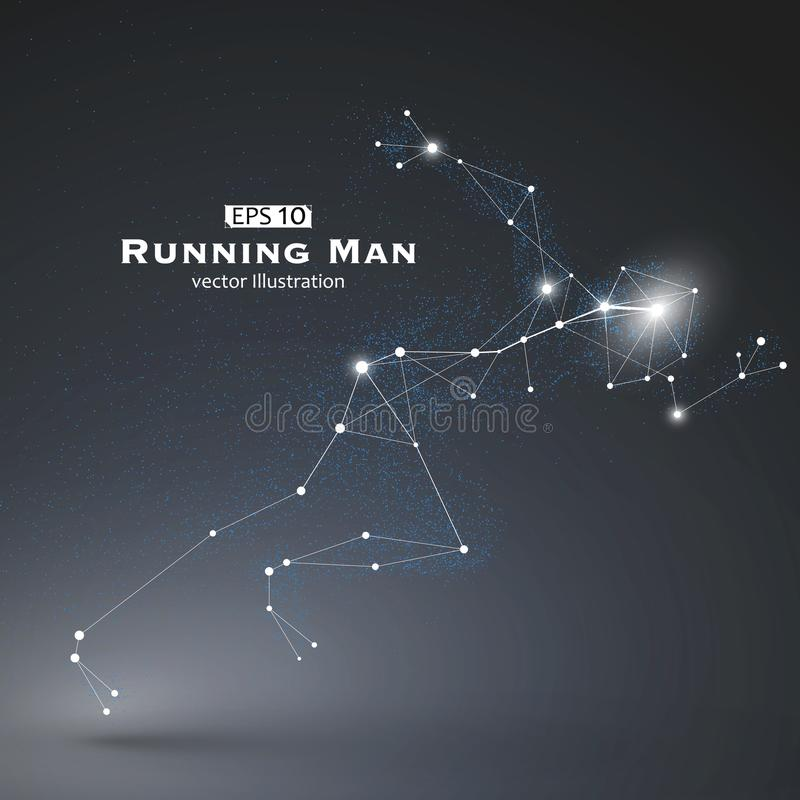 Running Man, dots and lines connected together, a sense of science and technology . Running Man, dots and lines connected together, a sense of science and vector illustration