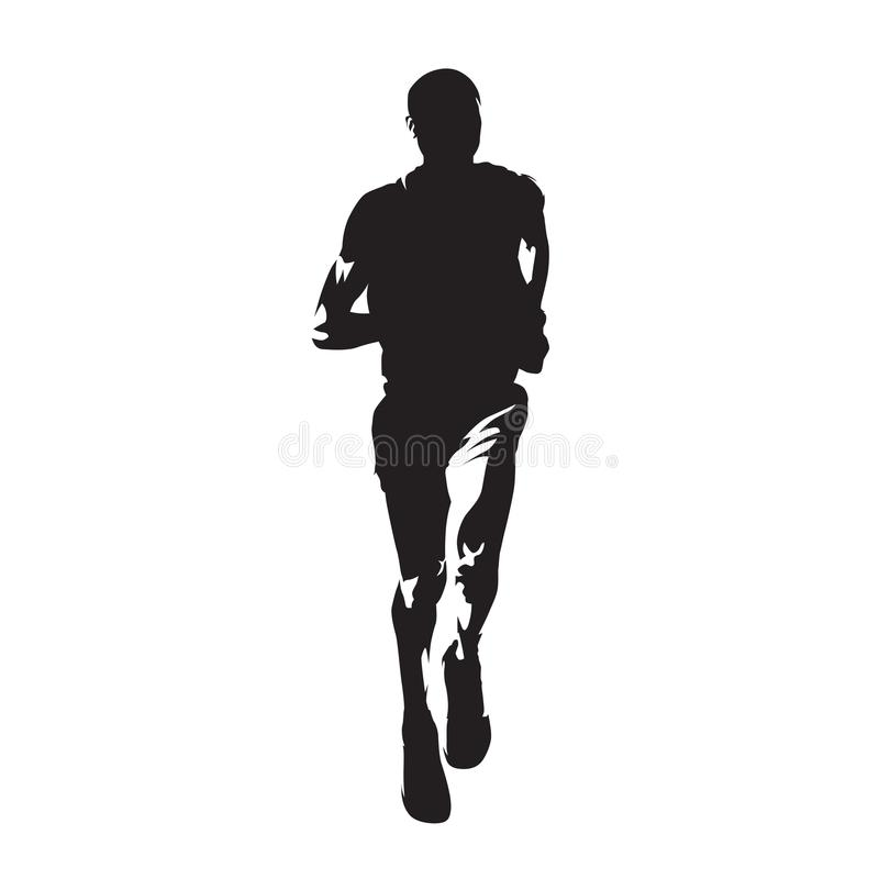 Running man, front view, isolated vector silhouette. Run. Ink dr. Awing vector illustration