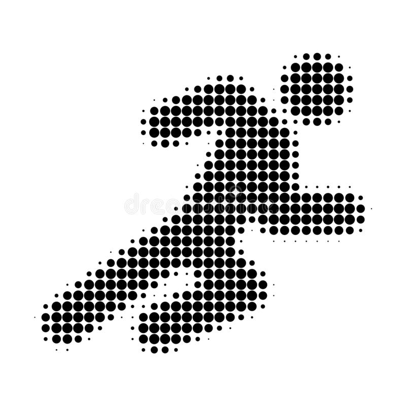 Running Man Halftone Dotted Icon stock illustration