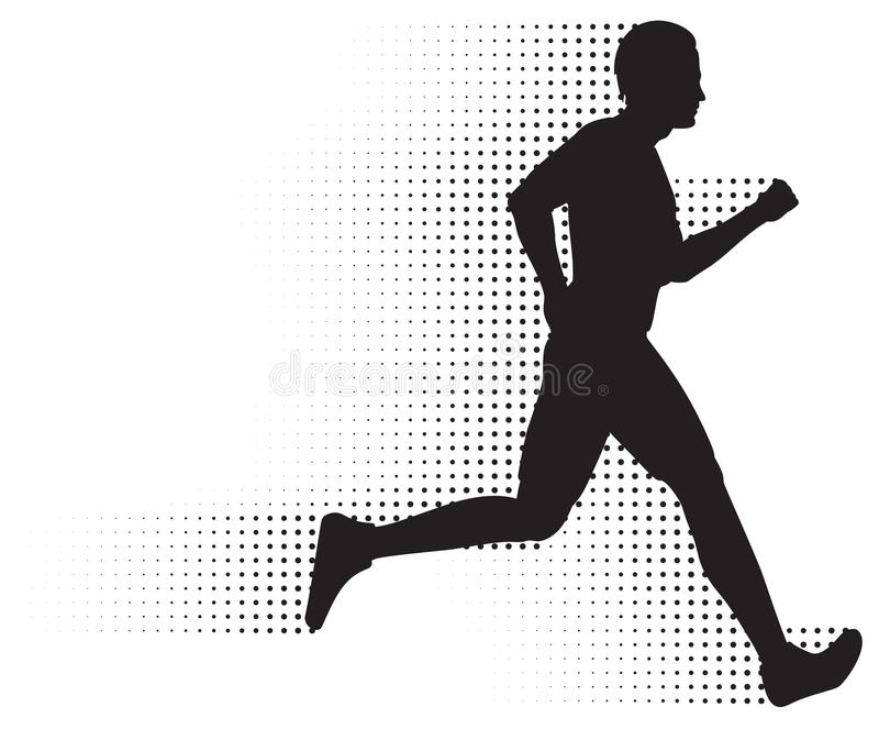 Running Man & Halftone Trail royalty free illustration