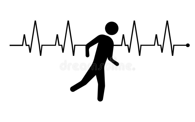 Running man and heartbeat icon. Vector illustration. royalty free illustration