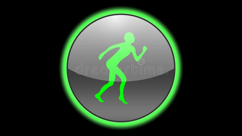 Running man icon vector design. Green neon icons with animals. Animals icons vector royalty free illustration