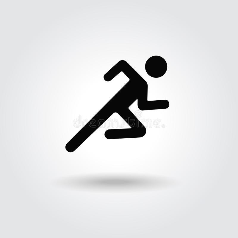 Free Running Man Icon White Black Silhouette Stock Image - 44692561