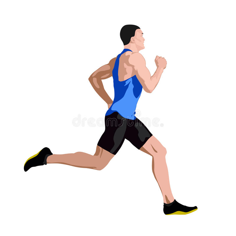 Free Running Man In Blue Jersey Profile, Side View Royalty Free Stock Images - 90091479
