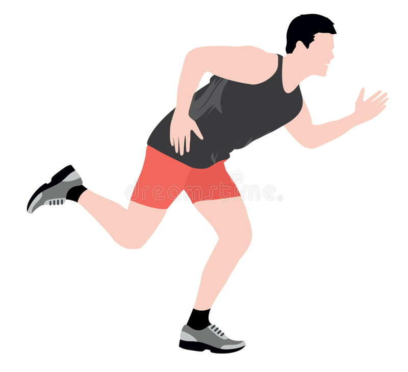 Running Man Isolated. Man running for fitness isolated illustration vector illustration
