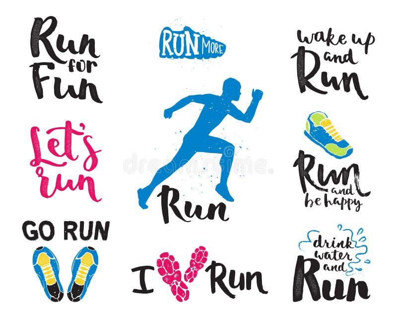 Running Man Marathon Logo Jogging Emblems Label And Fitness Training
