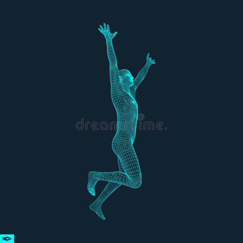 Running man planlägg geometriskt Människokropptrådmodell vektor illustrationer