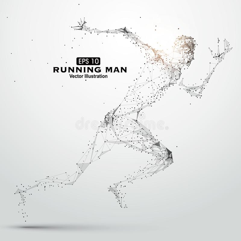 Running Man, points, lines and connected to form, illustration. Running Man, points, lines and connected to form, illustration,An athlete`s action, strong stock illustration