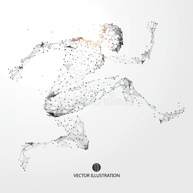Running Man, points, lines and connected to form, illustration. Running Man, points, lines and connected to form, illustration,Athletes royalty free illustration