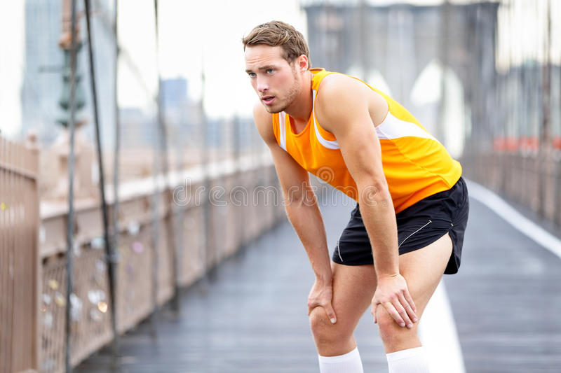 Download Running Man Resting After Run In New York City Stock Photo - Image: 41567078