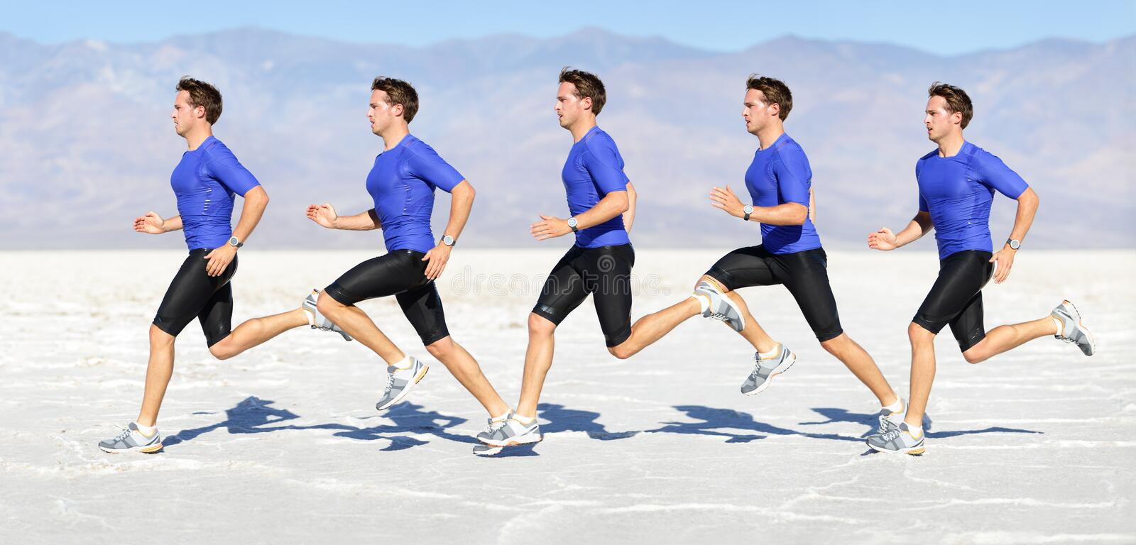 Running man - runner in speed motion composite. Running man - runner in speed showing sprinting motion. Male sport athlete sprinter composite in beautiful nature royalty free stock photos