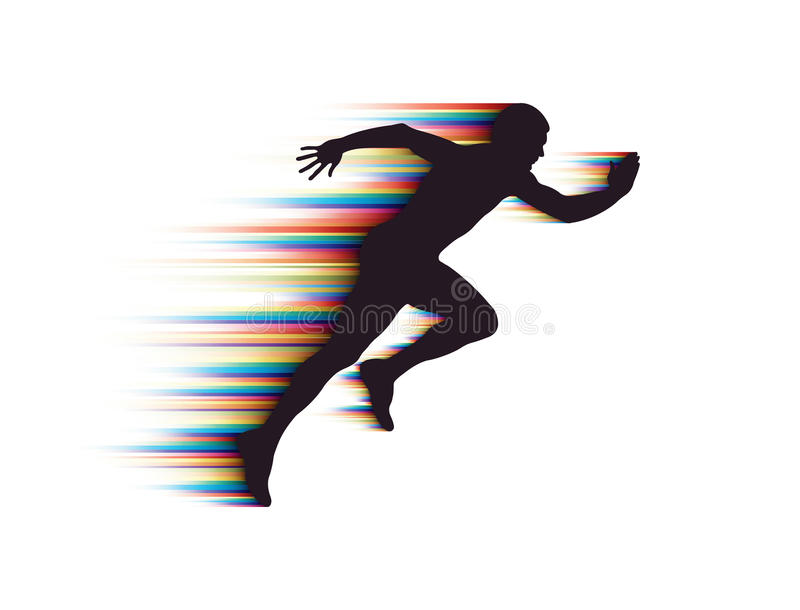 Running Man. Silhouette of man running on white background
