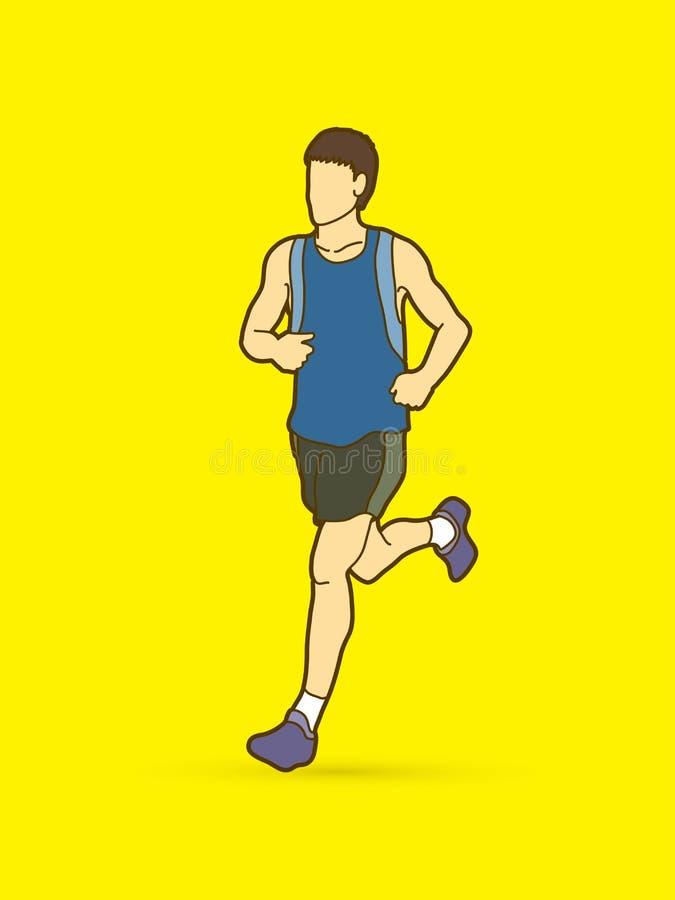 Running man, sport man sprinter, marathon runner stock illustration