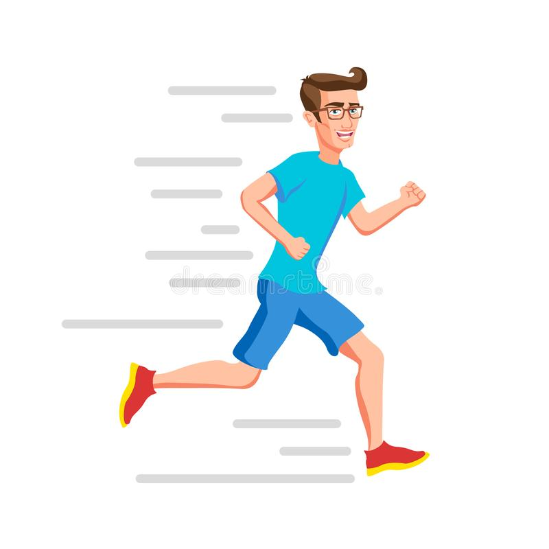 Running man. Sport. Run. Active fitness. Exercise and athlete. Variety of sport movements. hipsters Flat cartoon style. Side view stock illustration