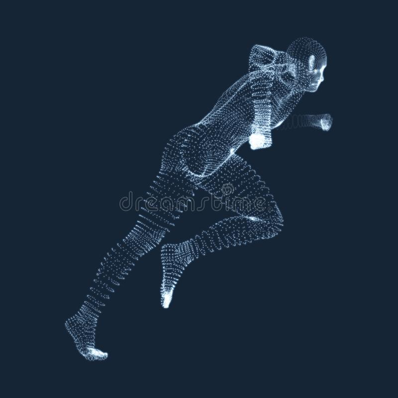 Running Man. Vector Graphics Composed of Particles. 3D Model of Man. Human Body Model. Body Scanning. View of Human Body royalty free illustration