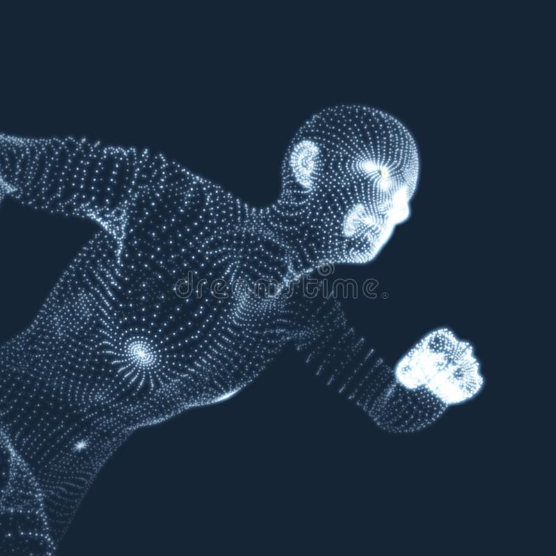 Running Man. Vector Graphics Composed of Particles. 3D Model of Man. Human Body Model. Body Scanning. View of Human Body.  royalty free illustration