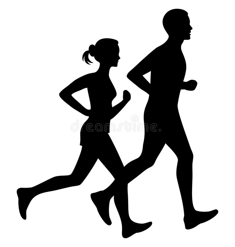 Running man and woman black silhouette isolated vector. Running man and woman black silhouette isolated vector illustration. Running couple, jogging couple vector illustration