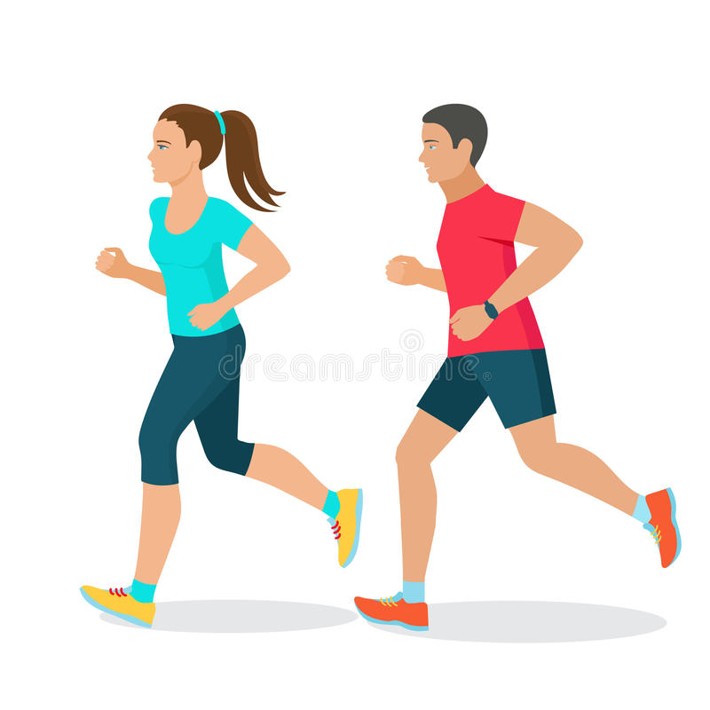 Running man and woman royalty free illustration