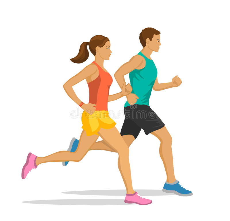Running Man and Woman. Jogging Couple royalty free illustration