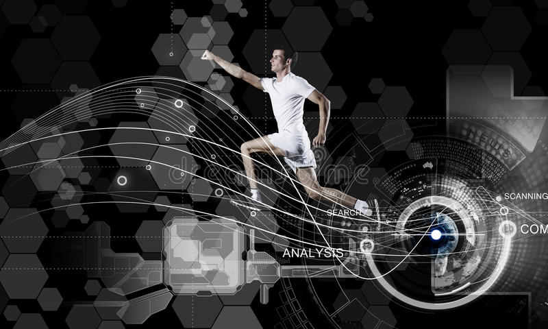 Running man. Young running man against digital media background stock illustration