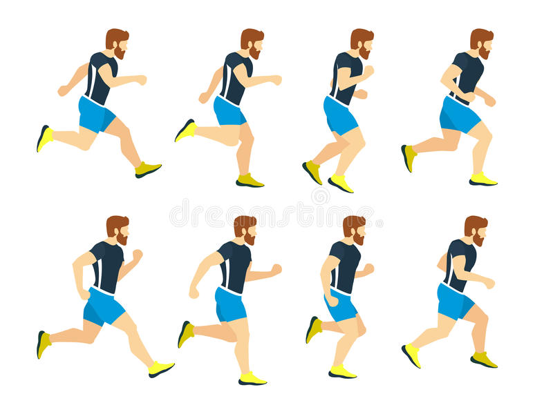 Running man young athlete in tracksuit. Animation frames. Vector sport illustrations isolate on white stock illustration