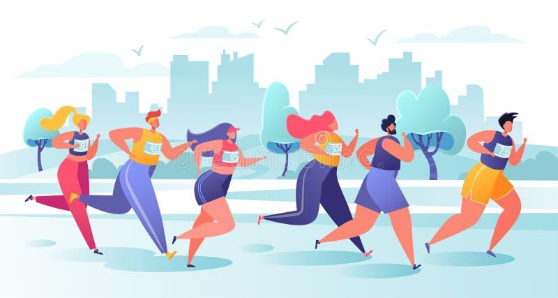 Active people characters running marathon distance. Healthy lifestyle concept, summer outdoor. Athlete, sprinter-sportsmen and sportswomen run marathon, sprint vector illustration