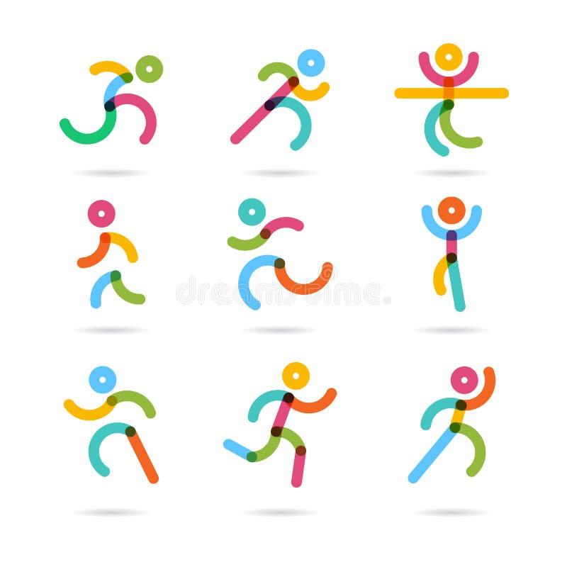 Running marathon colorful people icons and symbols royalty free illustration