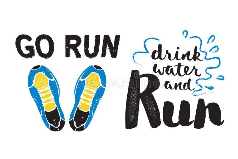 Running Marathon Logo Jogging Emblems Label And Fitness Training