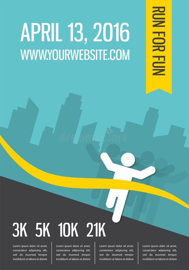 Running marathon, people run, colorful poster design stock illustration