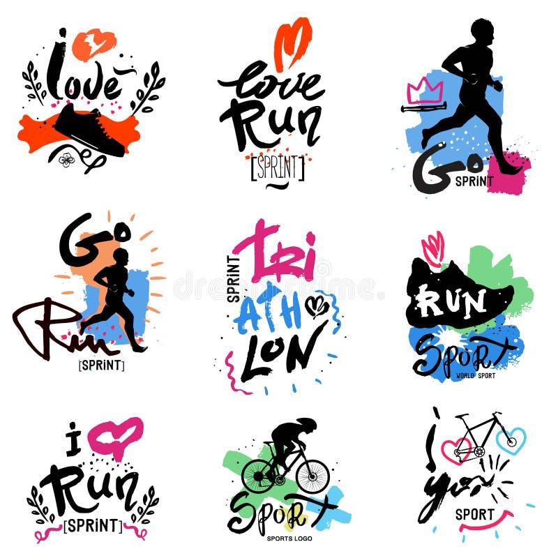Running, marathon, triathlon logo and illustrations. Vector illustration. Fitness, athlete training symbols, figures. Sprint, Jogging, handmade illustration royalty free illustration