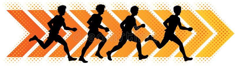 Running Men. A group of men running in a track event vector illustration