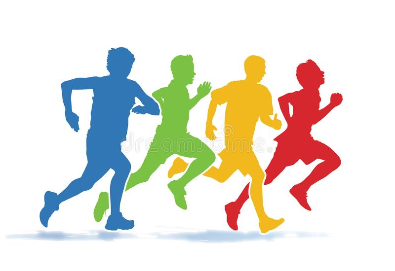 Running men. Colorful group of four young men running in the race on the white background vector illustration