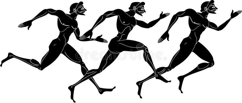 Running men. Vector illustration of three ancient greek athletic runner stock illustration