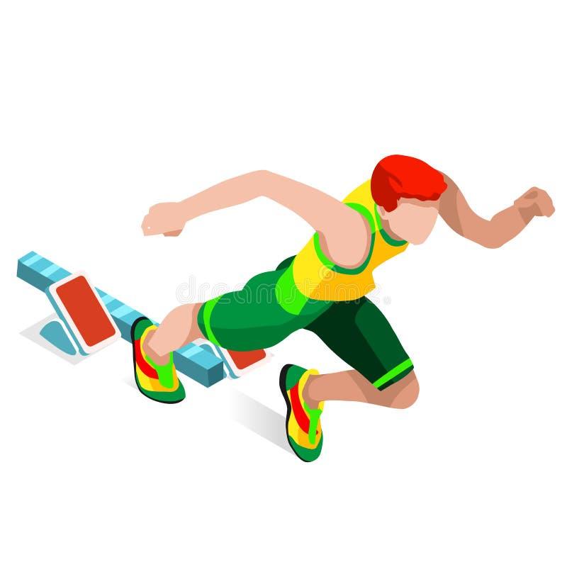 Running 100 Metres Dash of Athletics Olympics Sports Icon Set.Speed Concept.3D Isometric Athlete.Sport of Athletics.Sporting. Competition Race Runner.Sport stock illustration