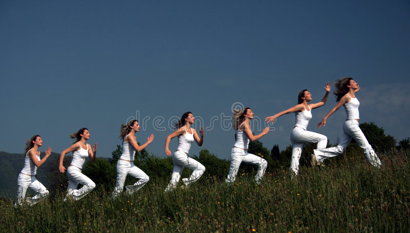 Running motions stock images
