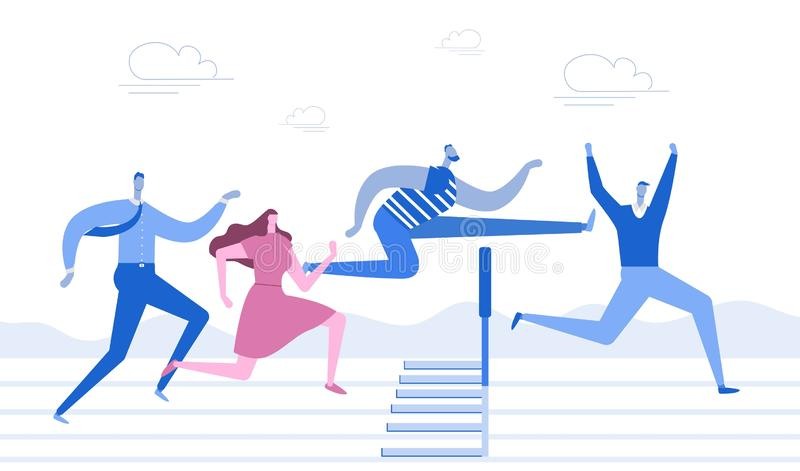 Running with obstacles. Business concept. Young people run to the distillation, jump over hurdles. Flat style. Vector. vector illustration