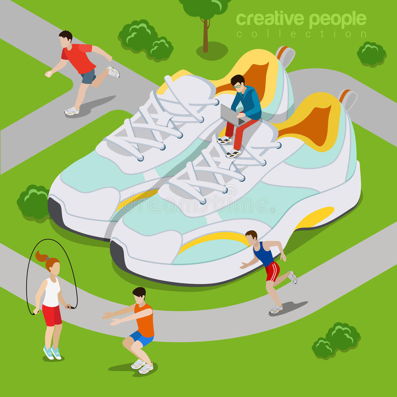 Running outdoor sports lifestyle concept. Flat 3d. Isometry isometric style web site vector illustration. Micro sportsman exercise run park around huge sneakers vector illustration