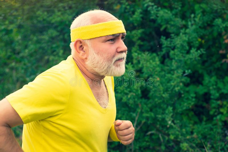 Running in park in the morning. Portrait of healthy senior sport man. Senior man hiking in summer in nature. Running in park in the morning. Portrait of healthy stock photo
