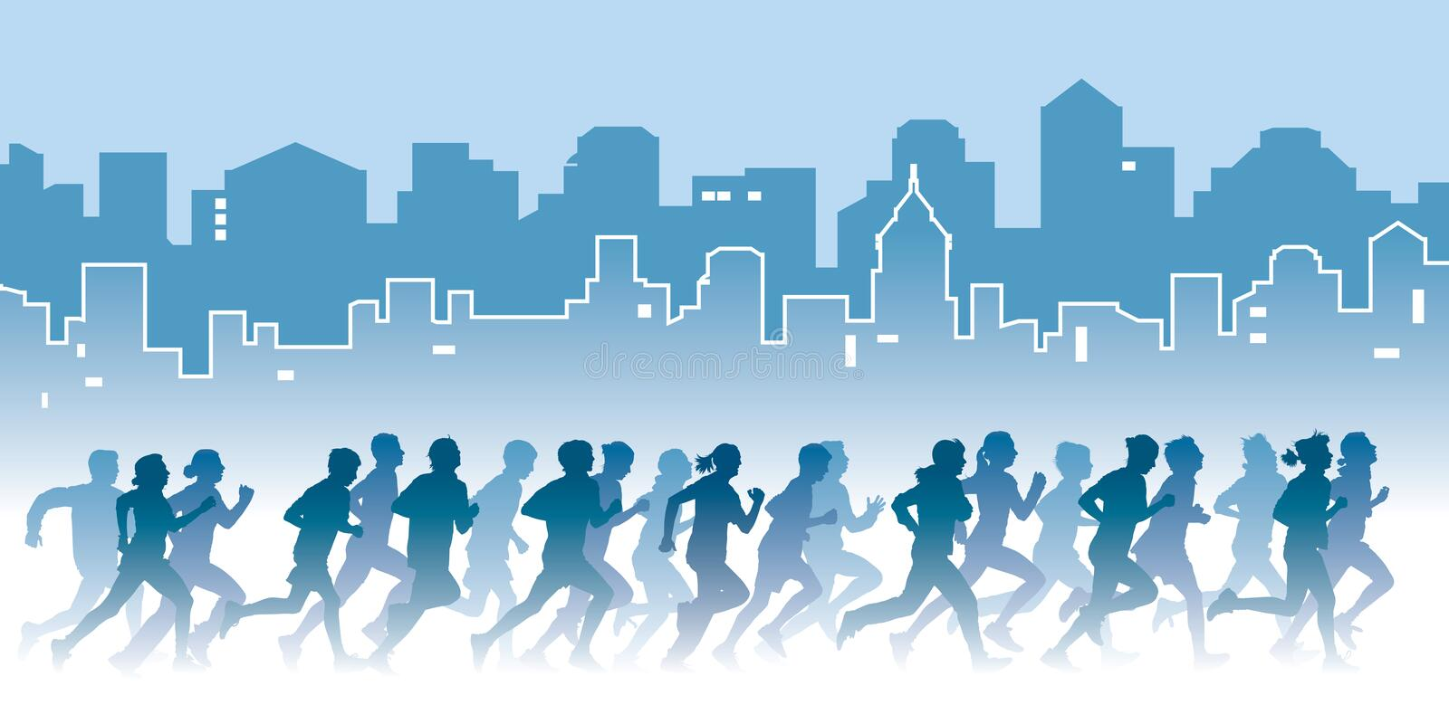 Running people. Crowd of young people running on a street. Sport vector illustration royalty free illustration