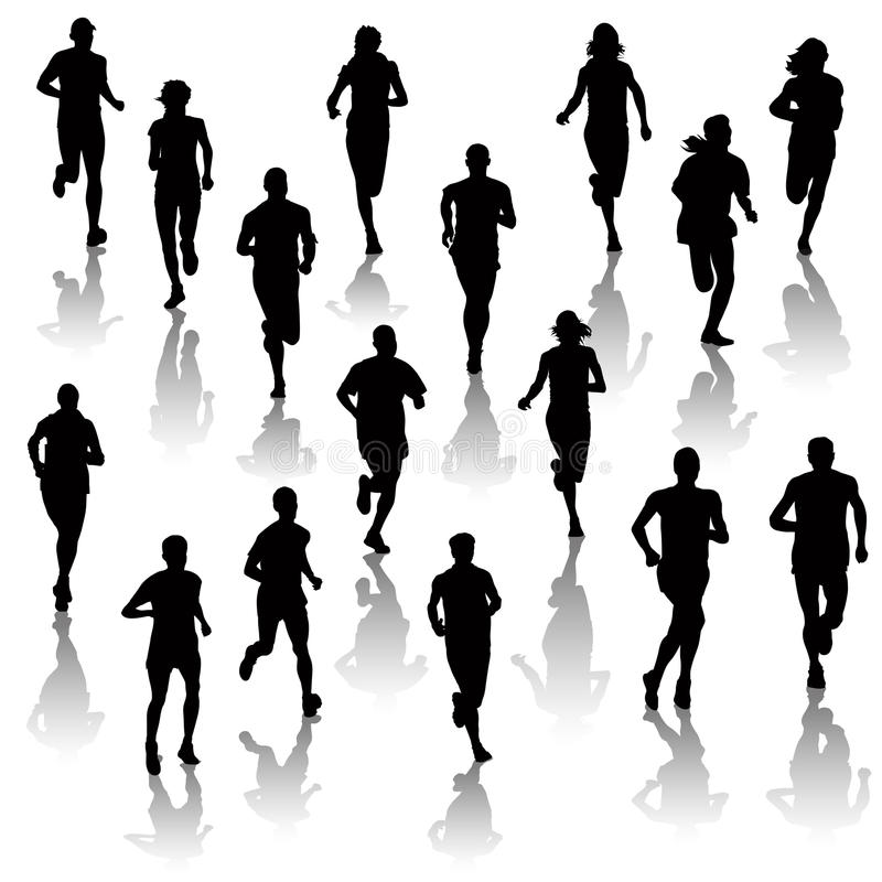 Running people. Collection of running people isolated on white. Vector illustration vector illustration