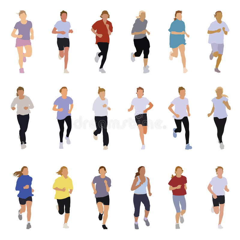 Running people. Collection of running silhouettes, teenagers, boys and girls royalty free illustration