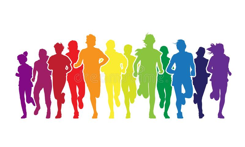 Running people. Colorful crowd of young people is running in the marathon on the white background royalty free illustration