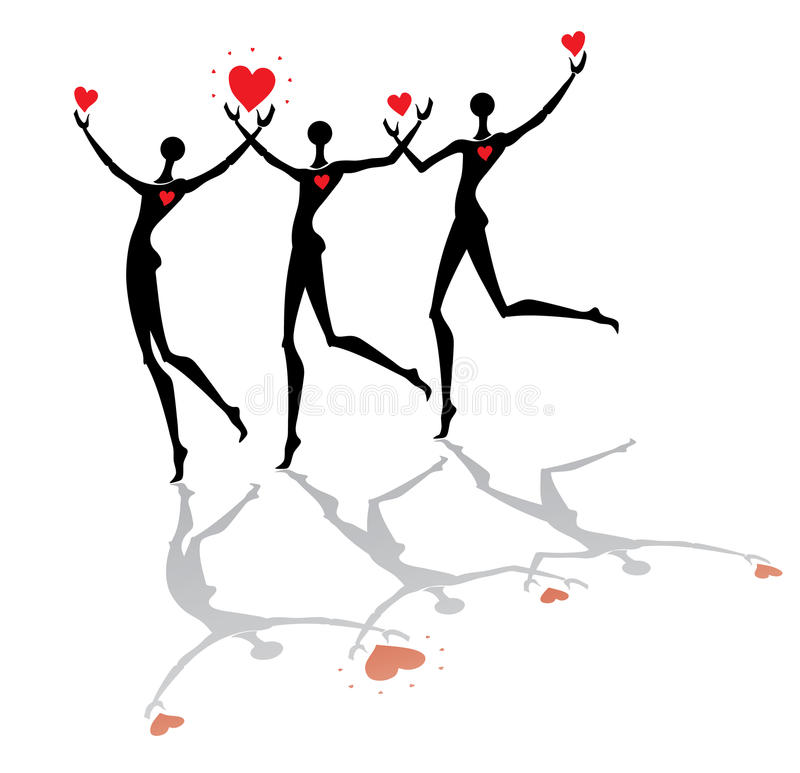 Running people with hearts. The group of men running silhouettes with red hearts vector illustration