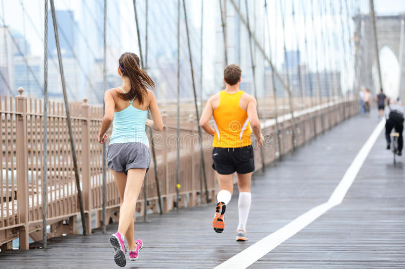 Running people jogging in New York City stock photo