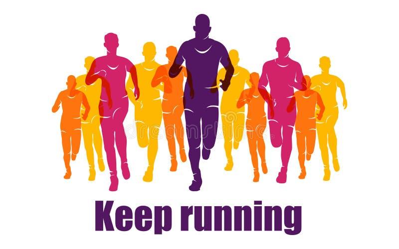 Running Marathon, People Run, Colorful Banner Stock Vector