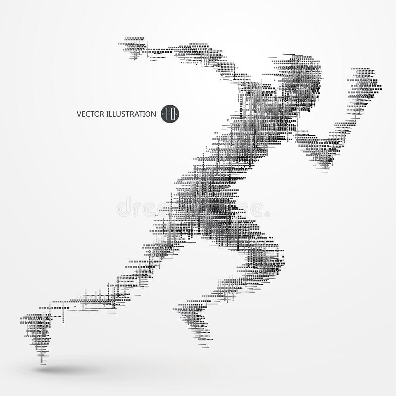 Running people, a lot of squares, technical illustrations. vector illustration
