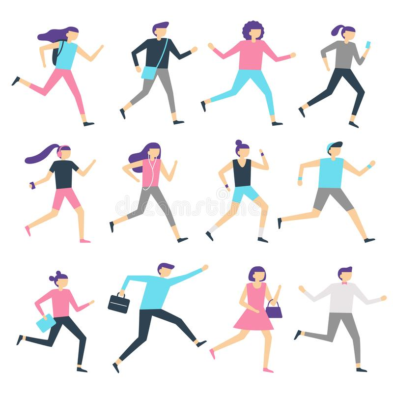 Running people. Man and woman run, jogging workout and athletic sport runners. Sports exercising isolated flat vector. Running people. Man and woman run, jogging royalty free illustration