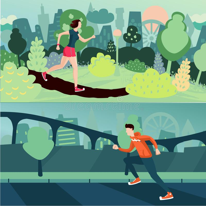 Running people. Morning run. Man and woman are joing on a street and city park. Sport and active couple. stock illustration