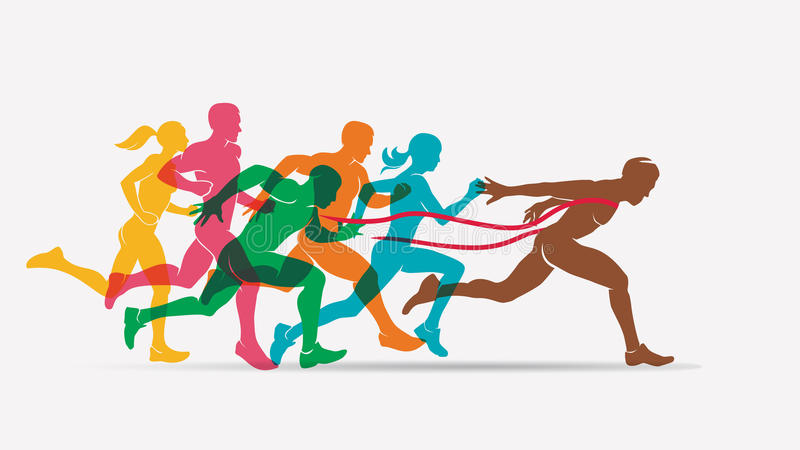 Running people set of silhouettes. Competition and finish vector illustration